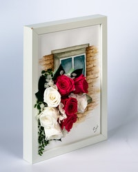 Handmålad Blomtavla  - Vit-Rosa