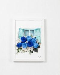Handmålad Blomtavla - Blå