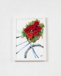 Handmålad Blomtavla - Röd
