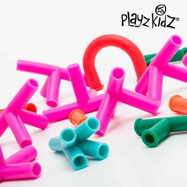 sugrörsspel för barnen bygg ditt eget rörsystem