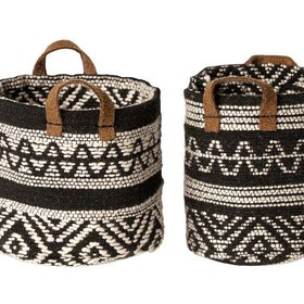 Maileg - Korgar i svart mönstrat tyg 2-pack