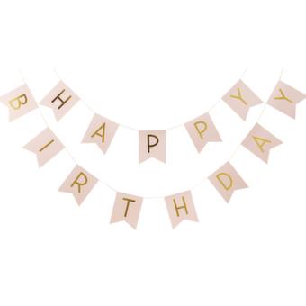 Happy Birthday vimpel i rosa & guld