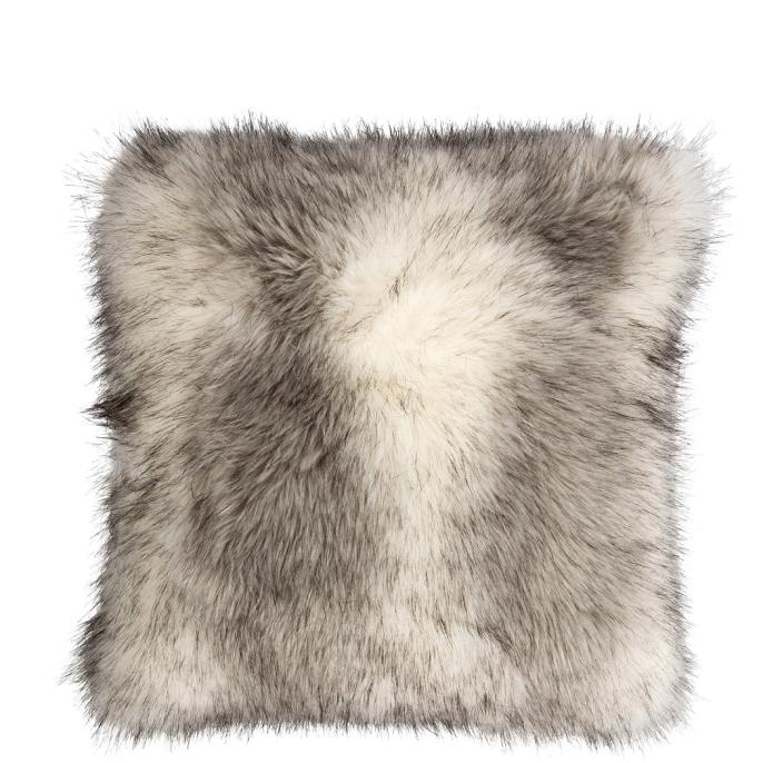 Prydnadskudde grå-vit päls