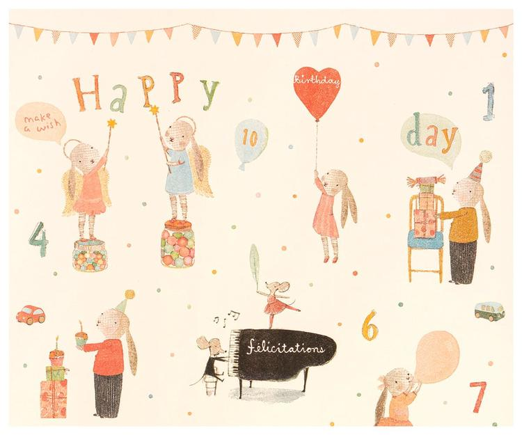 Maileg - Presentpapper Happy Day 10 m stor rulle