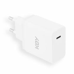 Key USB-C Väggladdare med Kabel 5V/3.0A/18W - Vit