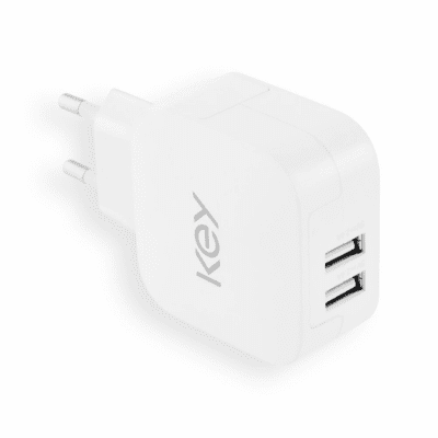 Key Väggladdare 2 x USB-A 5V/4.8A - Vit