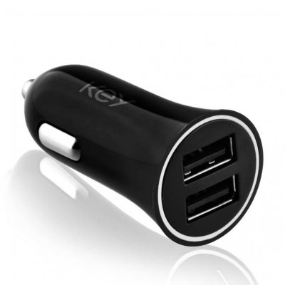 Key Power Billaddare 2 X USB-A 5V/4.8A - Svart