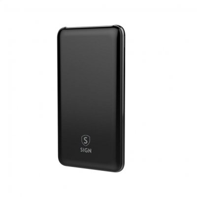 SiGN Q.C Powerbank 10.000mAh, 2A, USB-C, USB- Svart