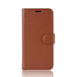 Litchi Plånboksfodral till Samsung Galaxy A20E - Brun