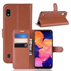 Crazy Horse Fodral med Kortfack för Samsung Galaxy A10 - Brun