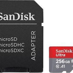 SanDisk Ultra microSDXC 256GB, 100MB/s, A1, Klass 10/UHS-1