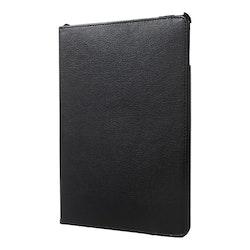 """Litchi Fodral med Roterbar Stativ för iPad 9.7"""" & iPad Air-Air2 - Svart"""