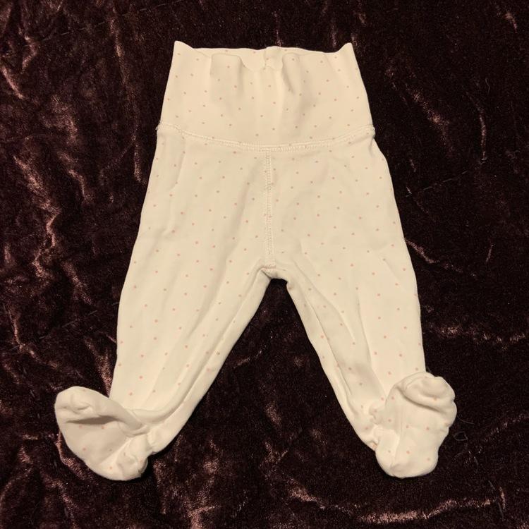 Vita byxor med ljusrosa små prickar från HM stl 56