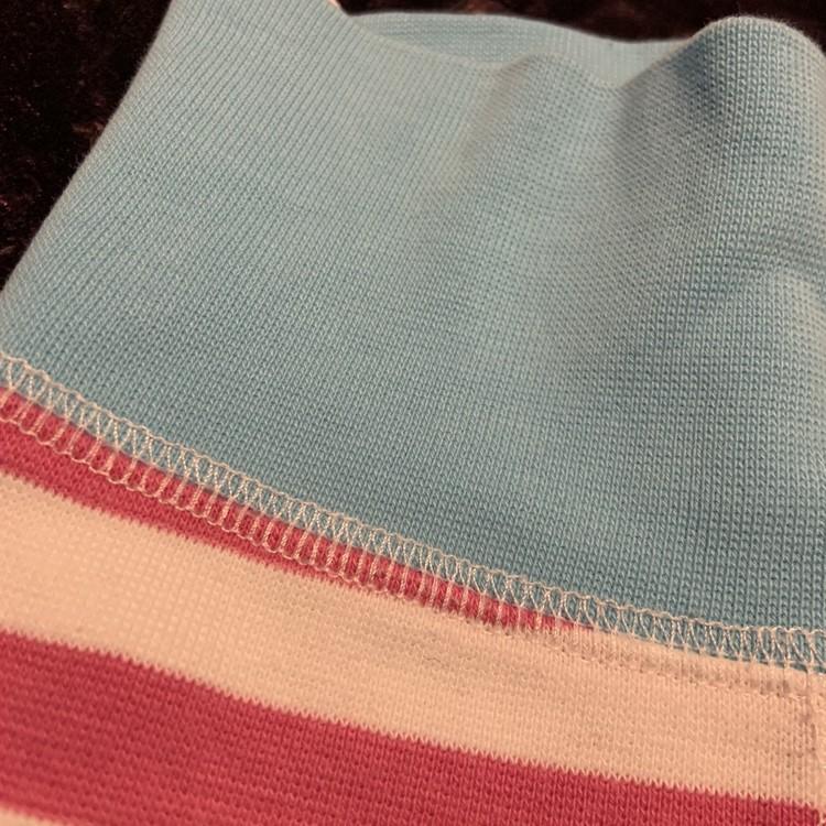 Rosa och vitrandiga byxor med turkosa muddar från Kaxs stl 56