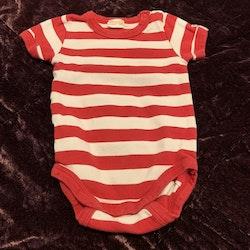 Vit och röd randig kortärmad body från Lindex stl 56