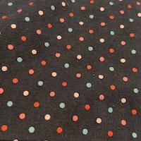 Mörkblå kortärmad body med vita ditsydda ärmar, färgglada prickar och text applikation från Lindex stl 56