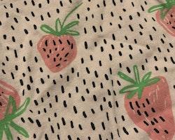 Ljusrosa kortärmad och kortbent romper med jordgubbsmönster från Lindex stl 62