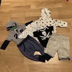 6 delat paket i vitt, grått, blått och svart stl 62