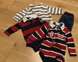 4 delat paket från Lindex i färgerna vitt, mörkblått och rött stl 62