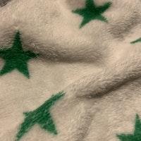Liten vit snuttefilt med gröna stjärnor och grå kantband från Lodger