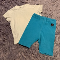 Set med vit t-shirt och turkosa shorts från PoP stl 68