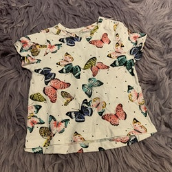 Vit t-shirt och leggings med vackert fjärilsmönster från HM stl 68