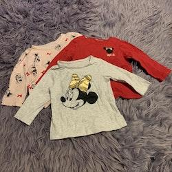 3 delat tröjpaket i rosa, rött, grått och svart med Mimmi tema från HM stl 68