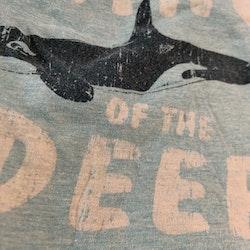 Ljusblå melerad t-shirt med text och späckhuggare tryck från Åhléns stl 50/56
