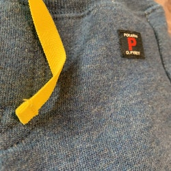 Denim blå byxor med gult snöre från PoP stl 56