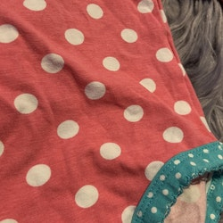 Rosa body med vita prickar och turkosa kantband med vita prickar samt Mimmi tryck från Disney stl 68