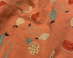 Rosa ärmlös klänning med färgglada frukter på från HM stl 68