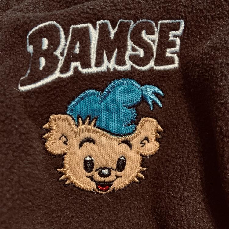 Brunt Bamse set med tröja med dragkedja, fickor och huva samt byxor från Lindex stl 74