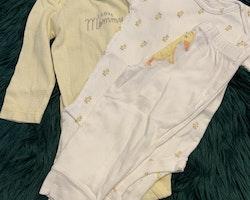 Tredelat set i gult och vitt med ankmönster och ank applikation från Carters stl 74