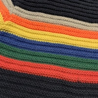 Mörkblå stickad tröja med flerfärgade ränder över bröstkorgen från NeXT stl 74