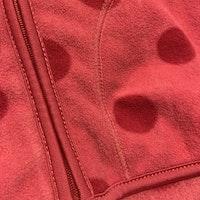 Rosa prickig fleecetröja med dragkedja och fickor från HM stl 74