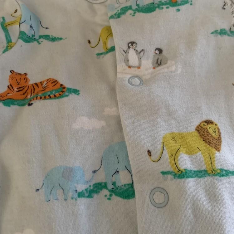 4 delat paket i vitt och gult med djurtema stl 50