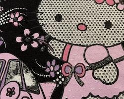 Svart t-shirt med rosa, lila och vitt glitter tryck med Hello Kitty stl 104