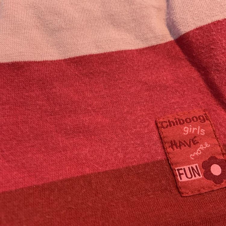 Bredrandig t-shirt i ljusrosa, rosa och rött från HM stl 98