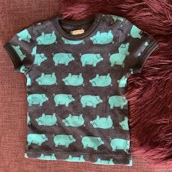 Mörkblå t-shirt med blått grismönster från PoP stl 80