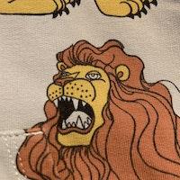 Ljusgrå colletröja med dragkedja, huva och lejontryck från Mini Rodini stl 68-74