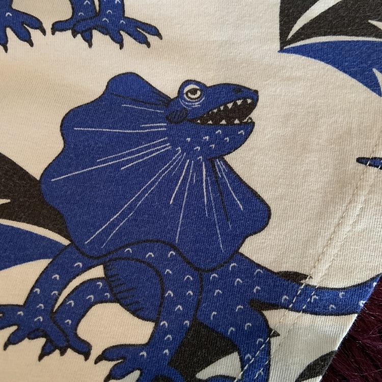 Ljusgrå kjol med svarta och blå draködlor