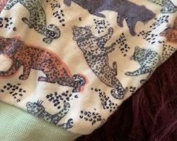 Vit kortärmad långbent pyjamas med mintgröna detaljer och ett färgglatt mönster med leoparder från Ica Eco stl 74