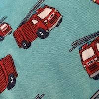 Ljusblå kortärmad body med röda brandbilar från Lindex stl 62
