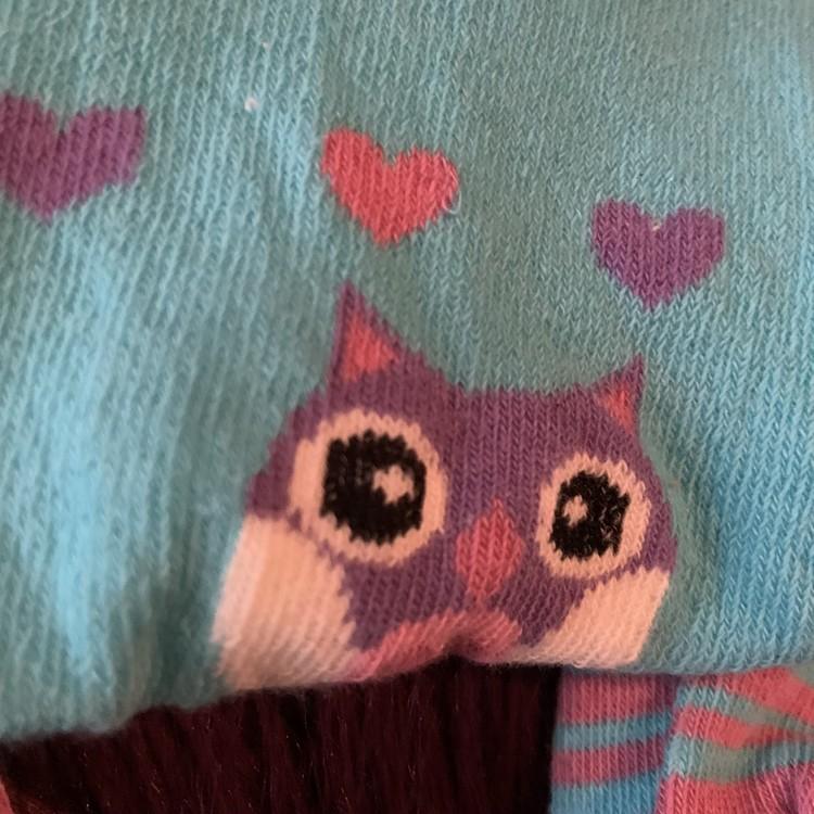 Turkosa, vita, rosa och lila strumpbyxor med ugglor, ränder, hjärtan och halkskydd från Tick Tock stl 0-6 mån