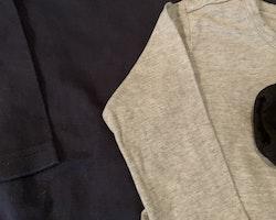 3 delat paket med basplagg i mörkblått, svart och grått stl 74/80