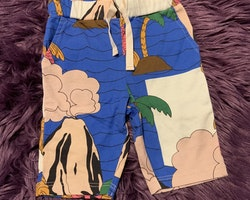 Färgglada byxor med tropiskt sjömonster mönster från Mini Rodini stl 56/62
