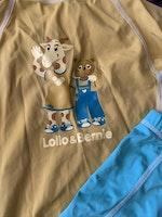 Ljusturkos och gul uvdräkt i två delar från Lollo & Bernie stl 92-104