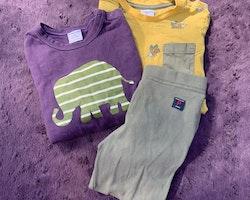 3 delat paket i gult, lila och kaki med ett par leggings och två tröjor från PoP stl 92