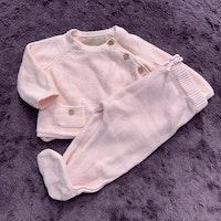 Rosa stickat set med omlottröja och byxor från Zara Mini stl 56