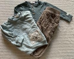 3 delat paket i turkost och beige med björntröja, body och byxor från Newbie stl 68